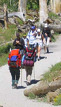 backpackers and day hikers on trail